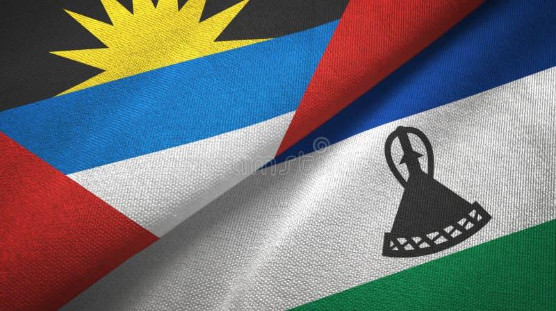 Tissu de textile de drapeaux de l'Antigua-et-Barbuda et du Lesotho deux, texture de tissu illustration de vecteur