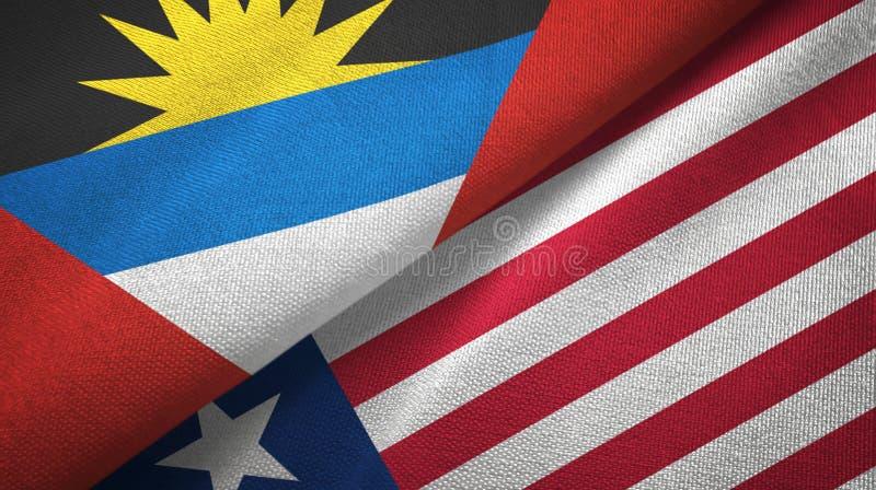 Tissu de textile de drapeaux de l'Antigua-et-Barbuda et du Libéria deux, texture de tissu illustration libre de droits