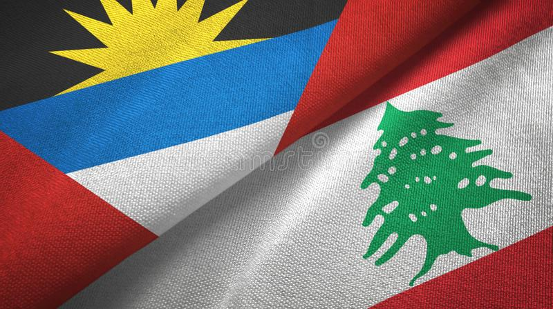 Tissu de textile de drapeaux de l'Antigua-et-Barbuda et du Liban deux, texture de tissu illustration libre de droits