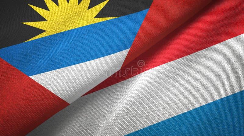 Tissu de textile de drapeaux de l'Antigua-et-Barbuda et du luxembourgeois deux, texture de tissu illustration libre de droits