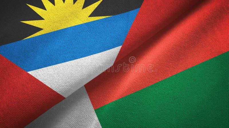 Tissu de textile de drapeaux de l'Antigua-et-Barbuda et du Madagascar deux, texture de tissu illustration de vecteur