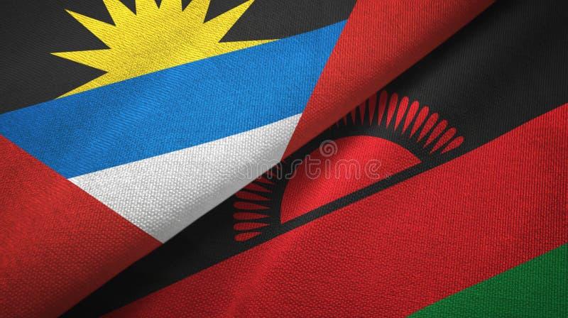 Tissu de textile de drapeaux de l'Antigua-et-Barbuda et du Malawi deux, texture de tissu illustration stock