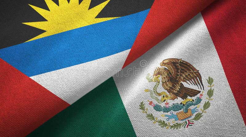 Tissu de textile de drapeaux de l'Antigua-et-Barbuda et du Mexique deux, texture de tissu illustration stock