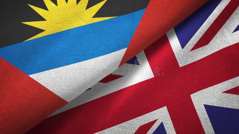 Tissu de textile de drapeaux de l'Antigua-et-Barbuda et du Royaume-Uni deux, texture de tissu illustration stock