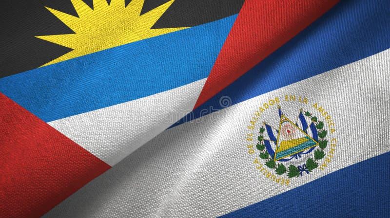 Tissu de textile de drapeaux de l'Antigua-et-Barbuda et du Salvador deux, texture de tissu illustration de vecteur