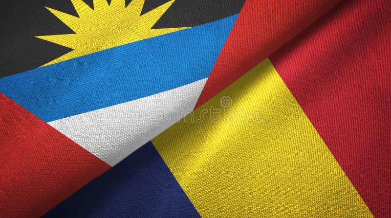 Tissu de textile de drapeaux de l'Antigua-et-Barbuda et du Tchad deux, texture de tissu illustration de vecteur