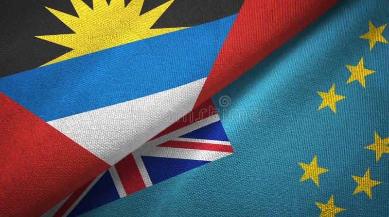 Tissu de textile de drapeaux de l'Antigua-et-Barbuda et du Tuvalu deux, texture de tissu illustration de vecteur