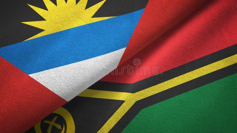 Tissu de textile de drapeaux de l'Antigua-et-Barbuda et du Vanuatu deux, texture de tissu illustration de vecteur