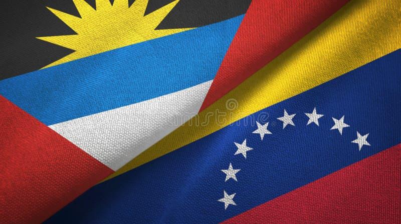 Tissu de textile de drapeaux de l'Antigua-et-Barbuda et du Venezuela deux, texture de tissu illustration libre de droits
