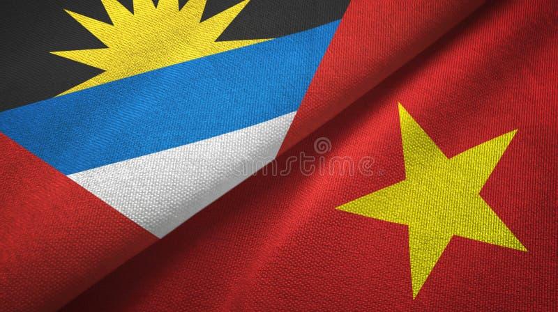 Tissu de textile de drapeaux de l'Antigua-et-Barbuda et du Vietnam deux, texture de tissu illustration stock
