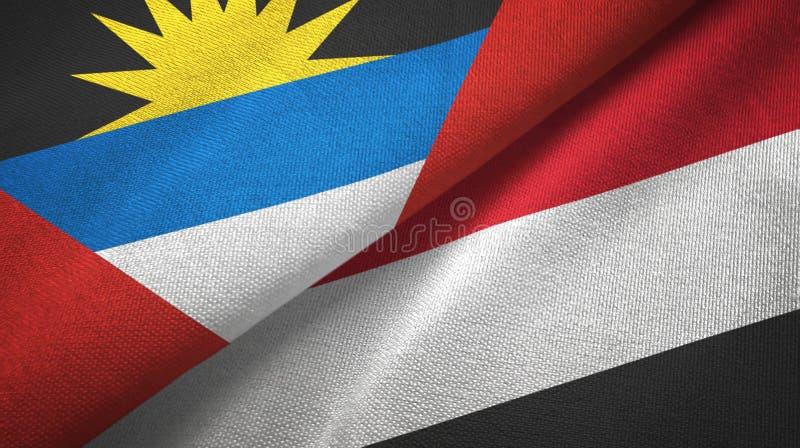 Tissu de textile de drapeaux de l'Antigua-et-Barbuda et du Yémen deux, texture de tissu illustration libre de droits