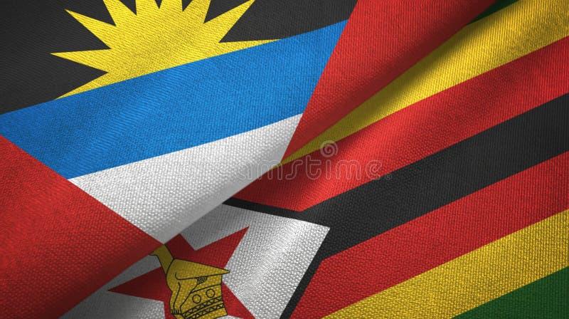 Tissu de textile de drapeaux de l'Antigua-et-Barbuda et du Zimbabwe deux, texture de tissu illustration stock