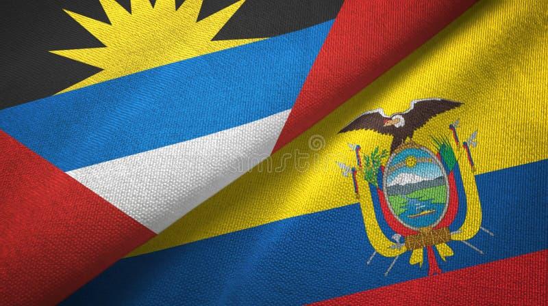 Tissu de textile de drapeaux de l'Antigua-et-Barbuda et de l'Equateur deux, texture de tissu illustration de vecteur