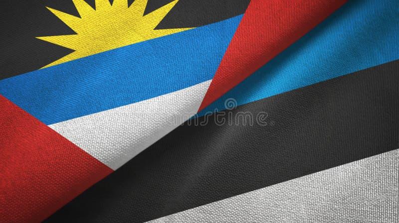 Tissu de textile de drapeaux de l'Antigua-et-Barbuda et de l'Estonie deux, texture de tissu illustration stock