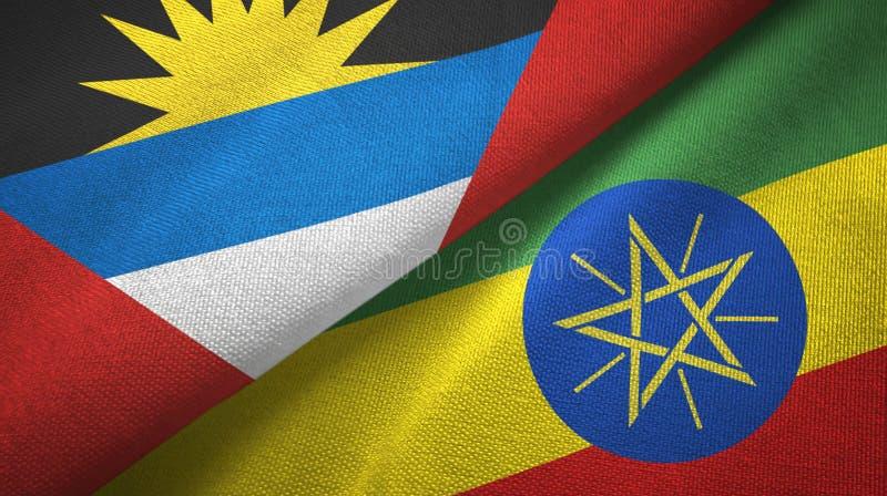 Tissu de textile de drapeaux de l'Antigua-et-Barbuda et de l'Ethiopie deux, texture de tissu illustration de vecteur