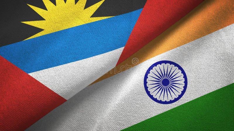 Tissu de textile de drapeaux de l'Antigua-et-Barbuda et de l'Inde deux, texture de tissu illustration de vecteur