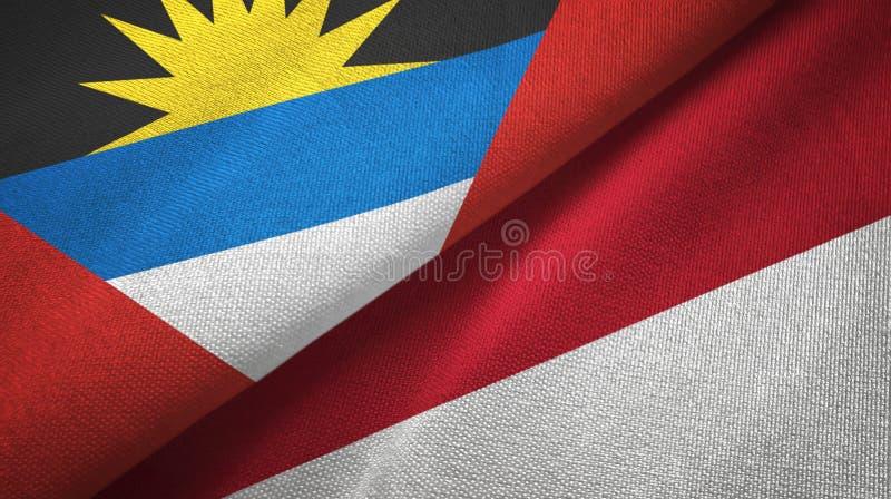 Tissu de textile de drapeaux de l'Antigua-et-Barbuda et de l'Indonésie deux, texture de tissu illustration stock