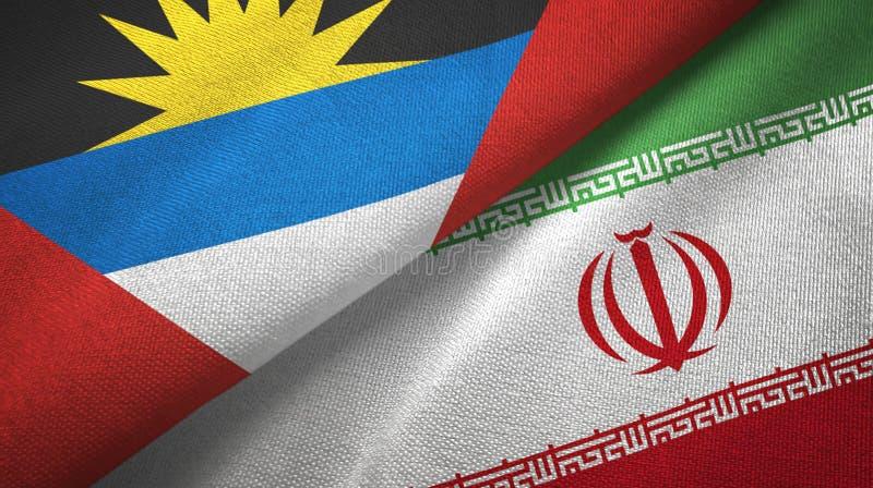 Tissu de textile de drapeaux de l'Antigua-et-Barbuda et de l'Iran deux, texture de tissu illustration libre de droits