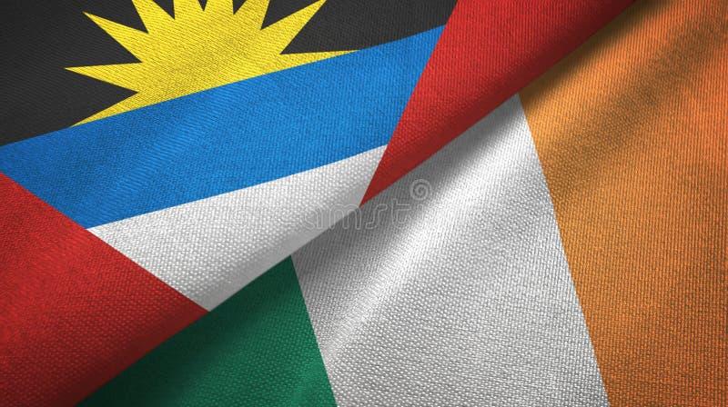 Tissu de textile de drapeaux de l'Antigua-et-Barbuda et de l'Irlande deux, texture de tissu illustration stock
