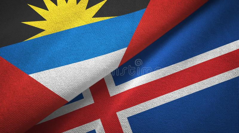 Tissu de textile de drapeaux de l'Antigua-et-Barbuda et de l'Islande deux, texture de tissu illustration de vecteur