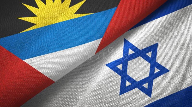 Tissu de textile de drapeaux de l'Antigua-et-Barbuda et de l'Israël deux, texture de tissu illustration stock