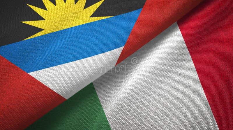 Tissu de textile de drapeaux de l'Antigua-et-Barbuda et de l'Italie deux, texture de tissu illustration libre de droits