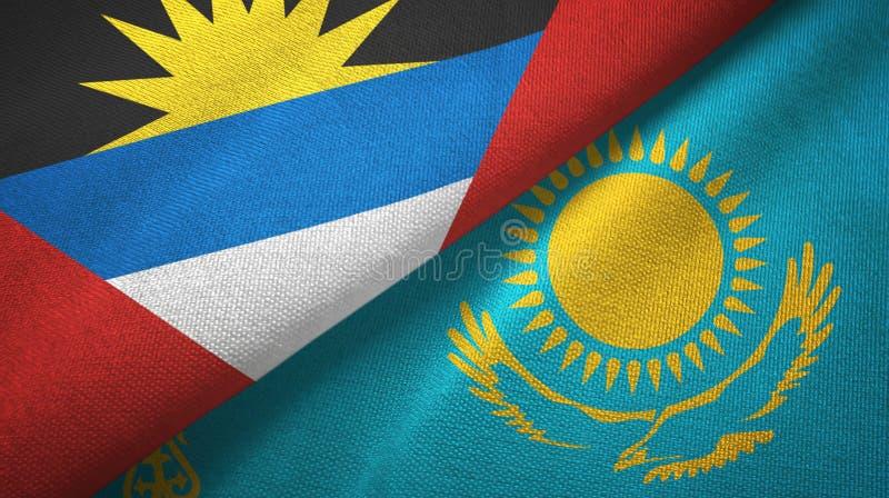 Tissu de textile de drapeaux de l'Antigua-et-Barbuda et de Kazakhstan deux, texture de tissu illustration de vecteur