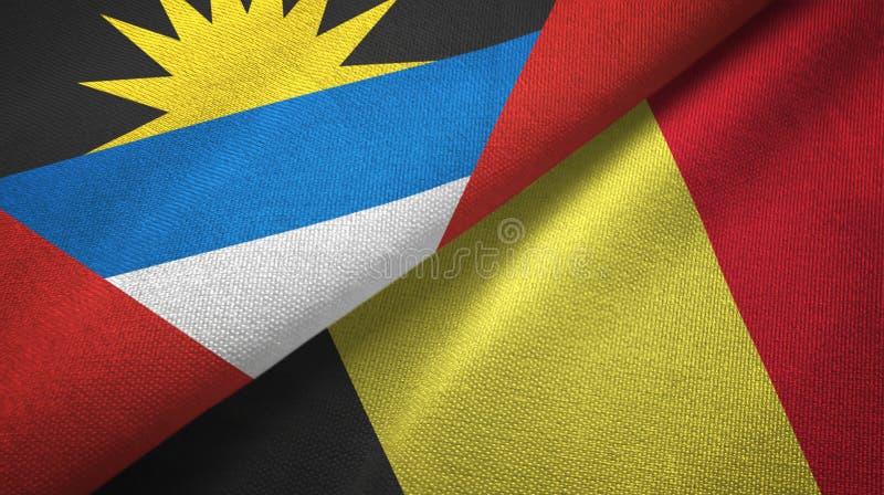 Tissu de textile de drapeaux de l'Antigua-et-Barbuda et de la Belgique deux, texture de tissu illustration stock