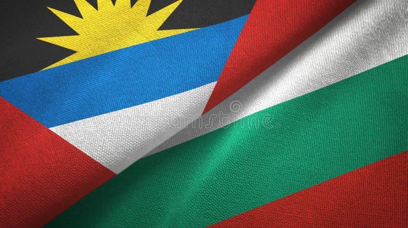 Tissu de textile de drapeaux de l'Antigua-et-Barbuda et de la Bulgarie deux, texture de tissu illustration libre de droits
