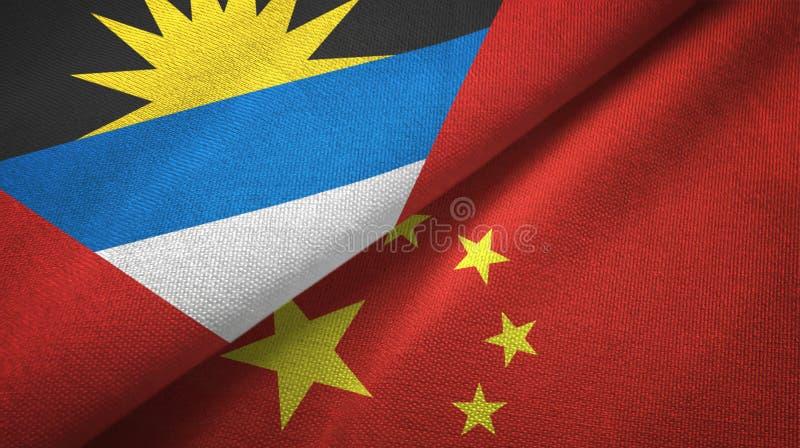 Tissu de textile de drapeaux de l'Antigua-et-Barbuda et de la Chine deux, texture de tissu illustration stock