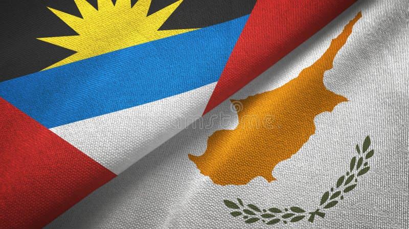 Tissu de textile de drapeaux de l'Antigua-et-Barbuda et de la Chypre deux, texture de tissu illustration de vecteur