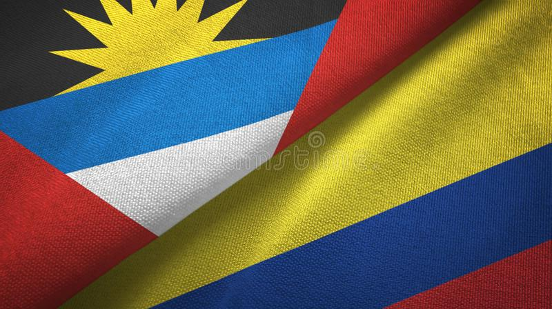 Tissu de textile de drapeaux de l'Antigua-et-Barbuda et de la Colombie deux, texture de tissu illustration de vecteur