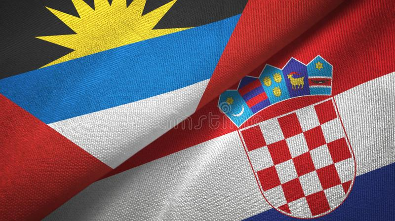 Tissu de textile de drapeaux de l'Antigua-et-Barbuda et de la Croatie deux, texture de tissu illustration de vecteur