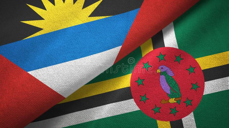 Tissu de textile de drapeaux de l'Antigua-et-Barbuda et de la Dominique deux, texture de tissu illustration libre de droits