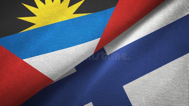 Tissu de textile de drapeaux de l'Antigua-et-Barbuda et de la Finlande deux, texture de tissu illustration de vecteur