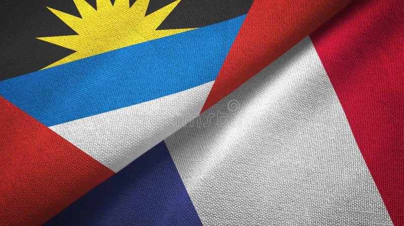 Tissu de textile de drapeaux de l'Antigua-et-Barbuda et de la France deux, texture de tissu illustration stock
