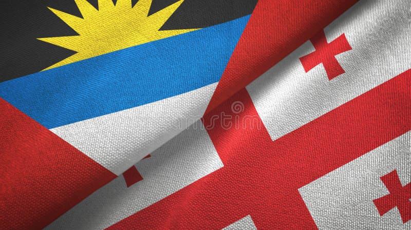Tissu de textile de drapeaux de l'Antigua-et-Barbuda et de la Géorgie deux, texture de tissu illustration libre de droits