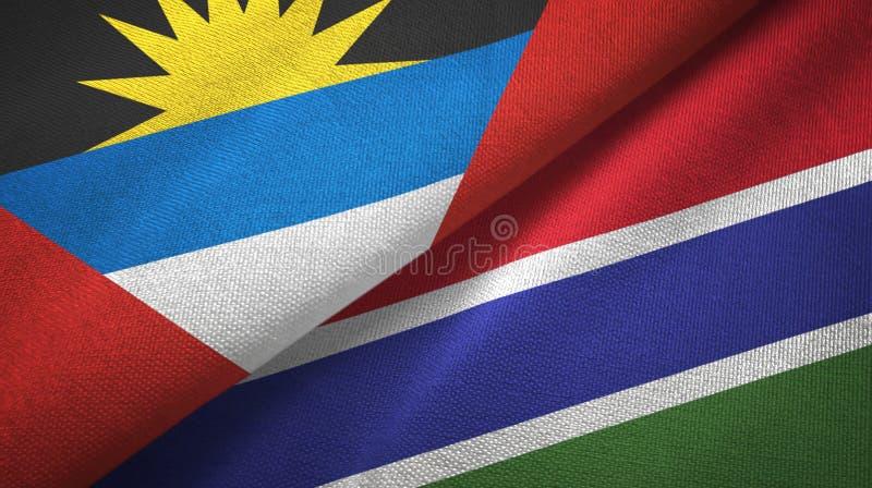 Tissu de textile de drapeaux de l'Antigua-et-Barbuda et de la Gambie deux, texture de tissu illustration libre de droits