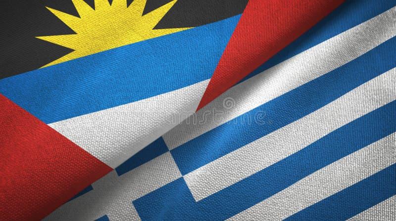 Tissu de textile de drapeaux de l'Antigua-et-Barbuda et de la Grèce deux, texture de tissu illustration libre de droits