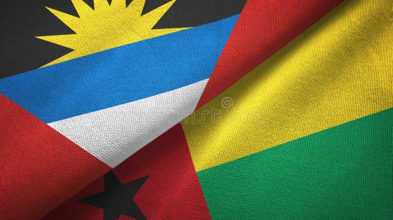 Tissu de textile de drapeaux de l'Antigua-et-Barbuda et de la Guinée-Bissau deux, texture de tissu illustration de vecteur
