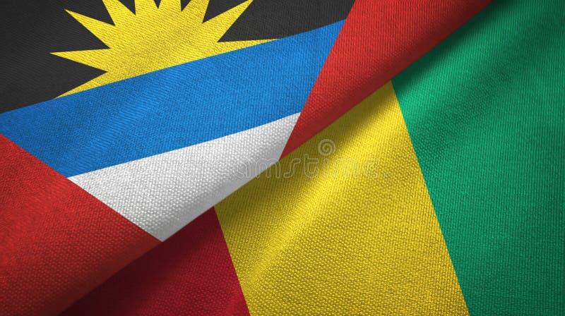 Tissu de textile de drapeaux de l'Antigua-et-Barbuda et de la Guinée deux, texture de tissu illustration de vecteur