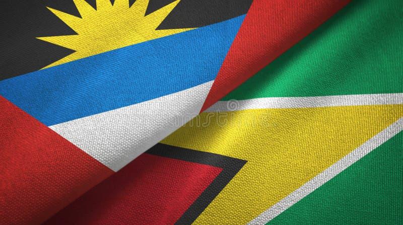 Tissu de textile de drapeaux de l'Antigua-et-Barbuda et de la Guyane deux, texture de tissu illustration libre de droits
