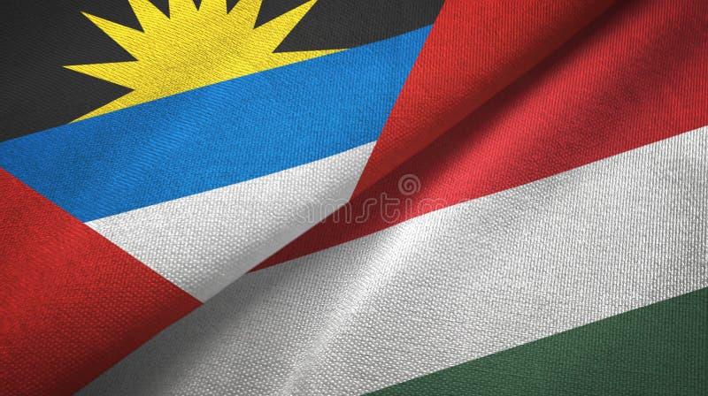 Tissu de textile de drapeaux de l'Antigua-et-Barbuda et de la Hongrie deux, texture de tissu illustration stock