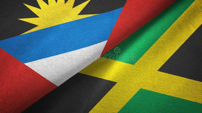 Tissu de textile de drapeaux de l'Antigua-et-Barbuda et de la Jamaïque deux, texture de tissu illustration libre de droits