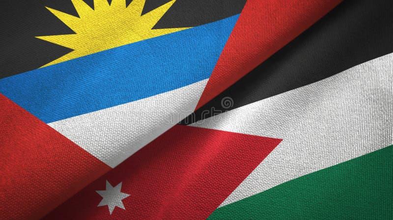 Tissu de textile de drapeaux de l'Antigua-et-Barbuda et de la Jordanie deux, texture de tissu illustration de vecteur