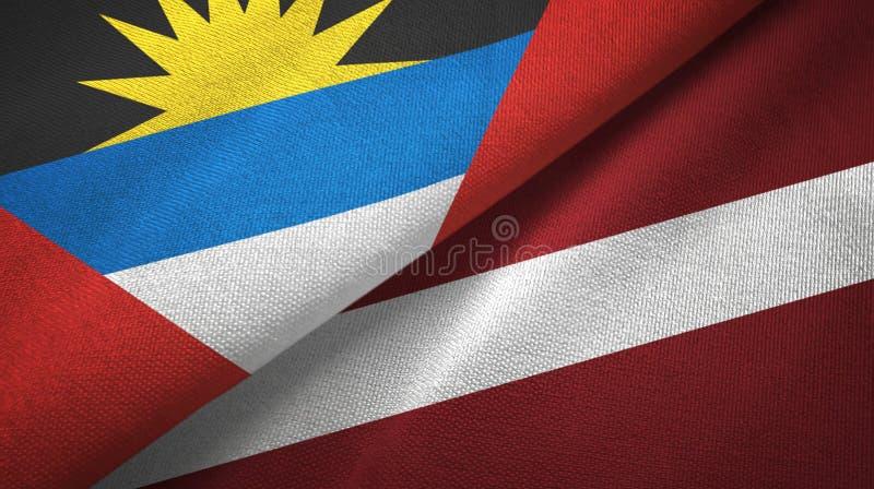 Tissu de textile de drapeaux de l'Antigua-et-Barbuda et de la Lettonie deux, texture de tissu illustration libre de droits