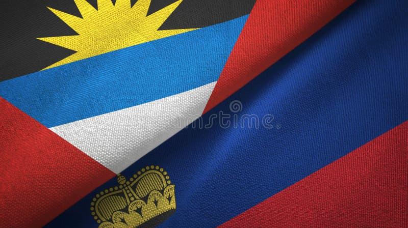 Tissu de textile de drapeaux de l'Antigua-et-Barbuda et de la Liechtenstein deux, texture de tissu illustration libre de droits