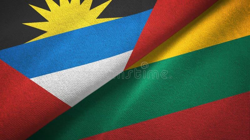 Tissu de textile de drapeaux de l'Antigua-et-Barbuda et de la Lithuanie deux, texture de tissu illustration libre de droits