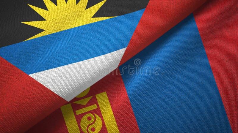 Tissu de textile de drapeaux de l'Antigua-et-Barbuda et de la Mongolie deux, texture de tissu illustration stock