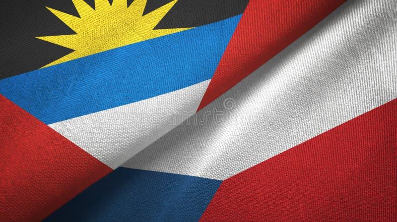 Tissu de textile de drapeaux de l'Antigua-et-Barbuda et de la République Tchèque deux, texture de tissu illustration stock